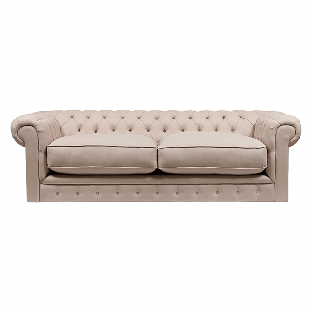 Диван The Pettite Kensington Upholstered Sofa Кремовый Лен