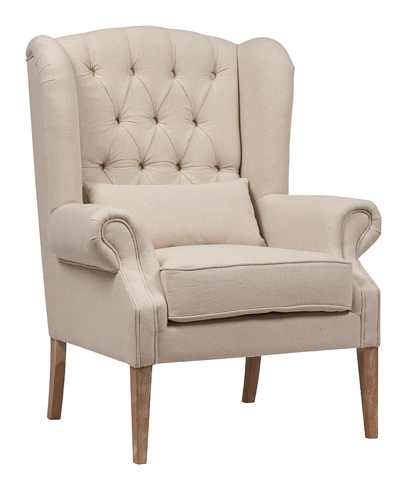 Кресло Wing Back Armchair Белый Лен