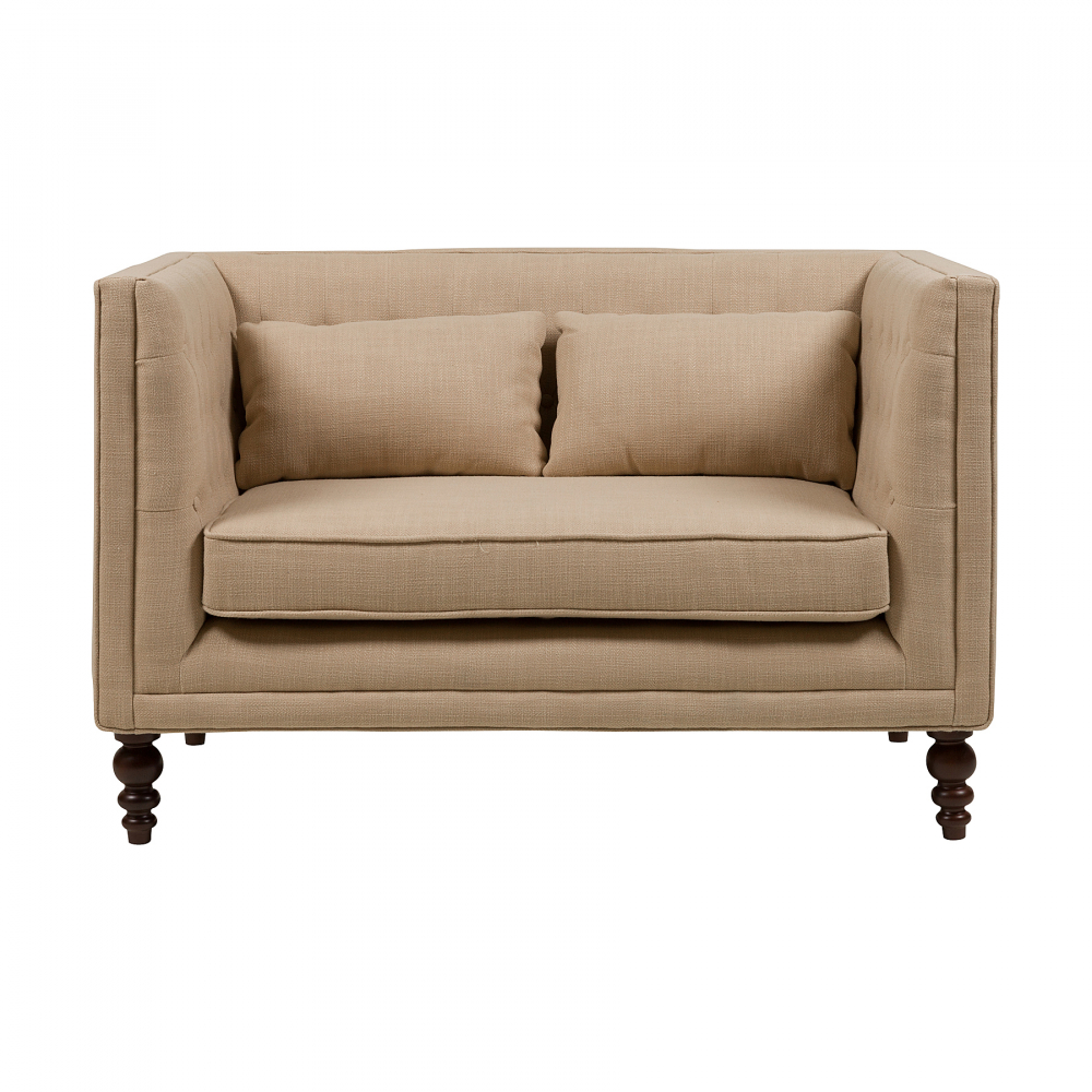Диван Сhester Sofa Бежевый ЛенДиваны<br>Небольшой диван Chester Sofa имеет деревянный <br>каркас, выполненный из березы. Спинка, подлокотники <br>и подушки обиты льняной тканью бежевого <br>цвета. На подлокотниках сбоку имеются декоративные <br>пуговки. Диван подойдет в небольшую комнату <br>или в качестве расширенного кресла. Его <br>длина составляет всего 126 см. Диван создаст <br>дополнительный уют в любом интерьере. В <br>нем можно комфортно провести время за счет <br>мягких подушек. Его стиль можно охарактеризовать <br>как прованс.<br><br>Цвет: Бежевый<br>Материал: Ткань, Поролон, Дерево<br>Вес кг: 25<br>Длина см: 126<br>Ширина см: 76<br>Высота см: 81