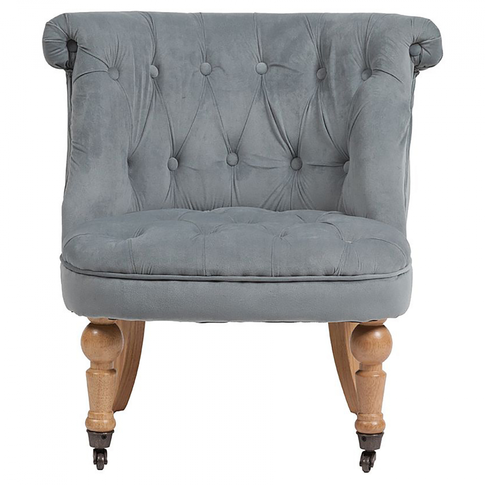 Кресло Amelie French Country Chair Серо-синий Вельвет, DG-F-ACH490-1