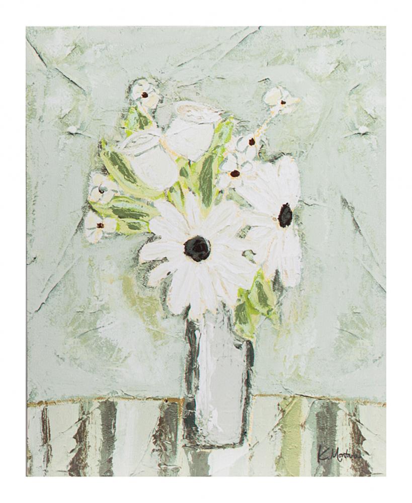 Декоративный постер Giardino, DG-D-1144-1  Пустые стены — это скучно. Кто-то вешает  картины, кто-то клеит постеры. Два в одном  — отлично сочетание, когда картину можно  повесить без тяжелых рамок, и сама она не  будет весить много. Декоративный постер  Giardino представляет собой холст с цветочной  композицией на столе. Не всегда есть возможность  поставить настоящие цветы в вазу, но наслаждаться  ими на стене можно круглый год и каждый  день. Вам остается лишь выбрать рамку для  картины. Постер можно повесить в любом интерьере,  где подскажет вам воображение и как шепнет  на ухо дизайнер.