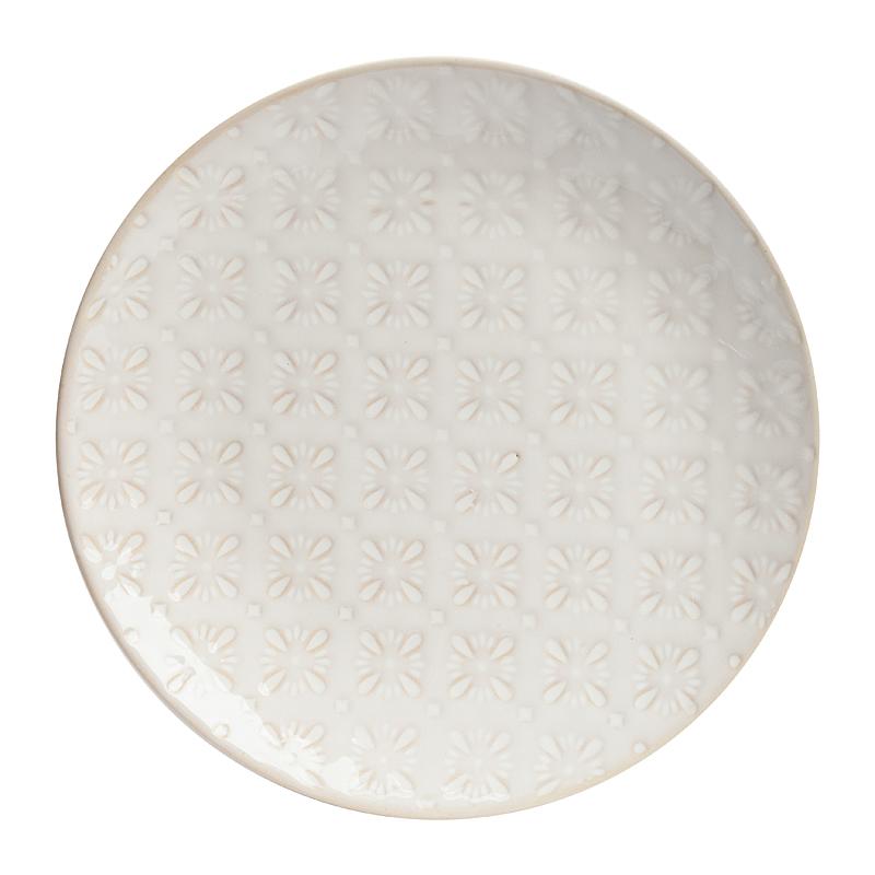 Тарелка ArikoТарелки<br>Элегантная тарелка Ariko из грубой керамики <br>в стиле модерн представлена в нежном цвете <br>слоновой кости. Она имеет простую классическую <br>форму, но оригинально декорирована рельефным <br>рисунком. Тарелка Ariko станет украшением <br>любого стола, сервированного к приему гостей <br>или важному торжеству. Тарелку можно приобрести <br>отдельно или в дополнение к другим предметам <br>коллекции в этом же цвете.<br><br>Цвет: Бежевый<br>Материал: Грубая керамика<br>Вес кг: 0,5<br>Длина см: 20<br>Ширина см: 20<br>Высота см: 2,5