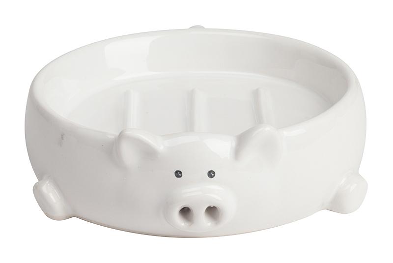 Подставка для мыла Pig ShapeАксессуары для ванной<br>Хрюшки — прелестные существа, готовые <br>создать уют и дома, и на работе. Они всегда <br>помогут поднять настроение своим пятачком. <br>А, как известно, даже в ванной не стоит пренебрегать <br>изысканными деталями, поэтому мы приготовили <br>стильную и несколько смешную мыльницу в <br>виде поросёнка. Эта подставка для мыла выполнена <br>из белого доломита. Юмор и комфорт для дома. <br>Подставка отлично расположится в вашей <br>ванной комнате: прямое и прочное дно позволит <br>без труда занять место рядом с раковиной, <br>а за счёт высоких краев мыло не будет скользить <br>и выпадать из мыльницы.<br><br>Цвет: Белый<br>Материал: Доломит<br>Вес кг: 0,3