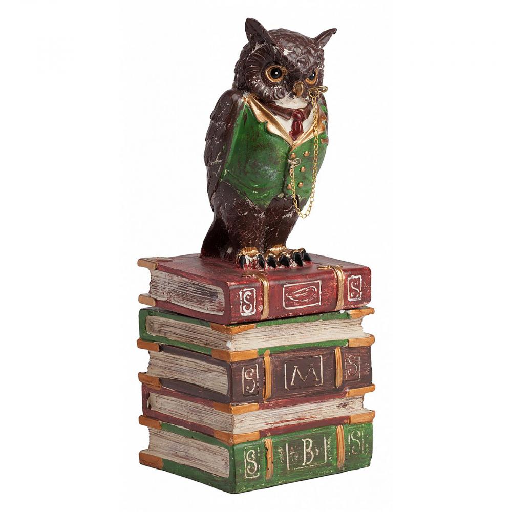 Декоративная шкатулка Owl Box DG-HOME Чтение и обучение – важный оплот мудрости  и саморазвития. Порой в книгах можно найти  больше интересного и необычного, чем ожидаешь.  Декоративная шкатулка Owl Box создана из полирезина  и представляет собой учёную сову, сидящую  на книгах и, таким образом, хранящую ключ  к мудрости. Или что-то ещё? Крышку в виде  совы удобно снимать, а в основание из книг  можно положить не только тайны, но и украшения,  или что-нибудь ещё. Такая шкатулка станет  прекрасным подарком для начальника, коллеги  или учителя.