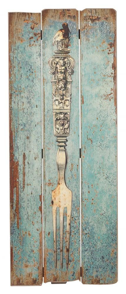 Декоративное панно ForkДекор стен<br><br><br>Цвет: Голубой<br>Материал: МДФ<br>Вес кг: 1<br>Длина см: 35<br>Ширина см: 1<br>Высота см: 90