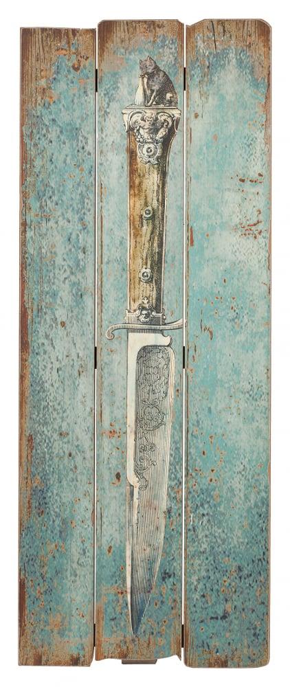 Декоративное панно Knife, DG-D-1157-2  Пустые стены — это скучно! Когда воображению  нет предела, можно украшать их по всякому:  картины, постеры, навесные композиции. Данное  панно входит в своеобразный триптих с изображением  столовых приборов: ложкой, вилкой и ножом.  Панно выполнено из МДФ и представляет собой  три вертикальные пластины, окрашенные в  голубой цвет с нарисованным ножом. Панно  выглядит состаренным для особого колорита  и способно освежить и привнести нового  веяния для вашей кухни или столовой.