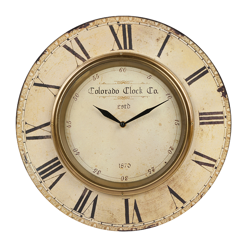 Настенные часы Colorado ClockЧасы<br>Размеры: диаметр 39 см., диаметр циферблата <br>23,5 см., тип часового механизма кварцевый, <br>батарейки не входят в комплект.<br><br>Цвет: Бежевый<br>Материал: МДФ, Металл<br>Вес кг: 1,2<br>Длина см: 39<br>Ширина см: 1<br>Высота см: 39