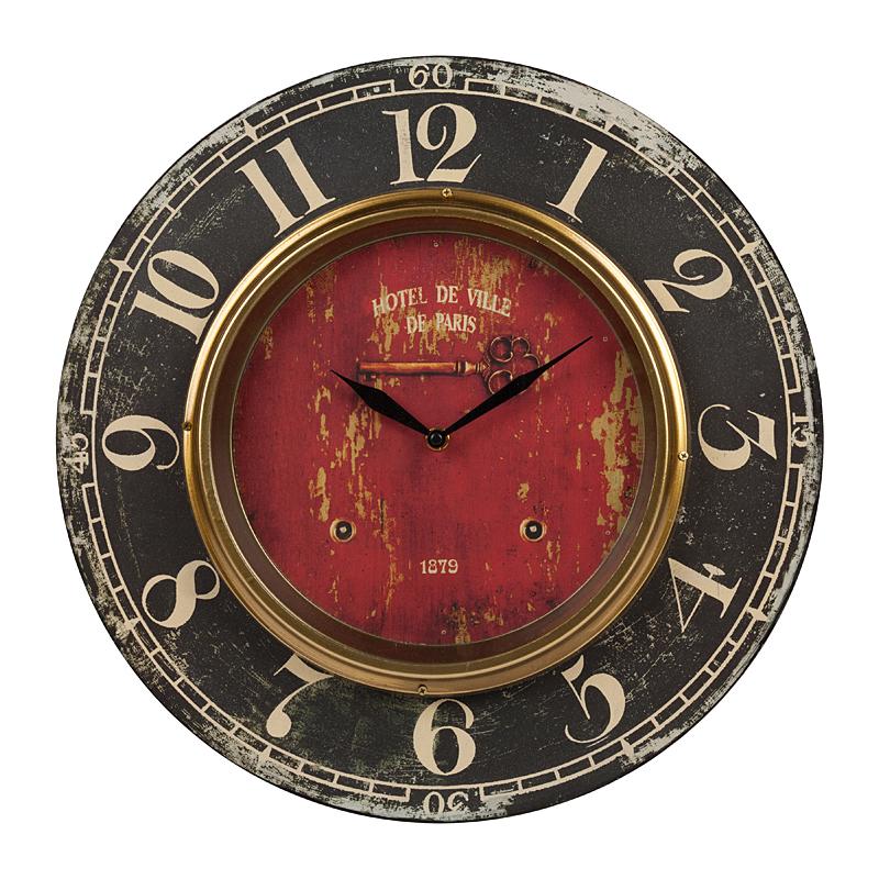 Настенные часы Hotel De VilleЧасы<br>Стиль старых парижских отелей теперь можно <br>поселить у себя. Не нужно никуда ехать, несколько <br>ярких деталей, и вот — атмосфера создана. <br>Часы на стене — признак хорошего офиса <br>или солидного дома. Уже редко где можно <br>встретить настенные часы с маятником, тем <br>более с кукушкой. Но стильный и красивый <br>часовой механизм всегда способен не только <br>стать полезным, но и действительно украсить <br>интерьер. Настенные часы Hotel De Ville созданы <br>из МДФ. Внешняя часть окрашена в чёрный <br>цвет, на ней располагаются цифры необычного <br>старого шрифта. Внутренняя часть — красного <br>цвета, с потёртостями и изображением изящного <br>ключа. Там же расположены металлические <br>чёрные стрелки. Диаметр изделия 39 см, внутренней <br>части с циферблатом — 23,5 см. Часовой механизм <br>кварцевого типа. Работает на батарейках <br>(их придется докупить отдельно). За счёт <br>дерзкого сочетания чёрно-красной гаммы <br>цветов и крупных оригинальных цифр, часы <br>выглядят роскошно и подойдут для любого <br>интерьера.<br><br>Цвет: Чёрный<br>Материал: МДФ, Металл<br>Вес кг: 1,2<br>Длина см: 39<br>Ширина см: 1<br>Высота см: 39