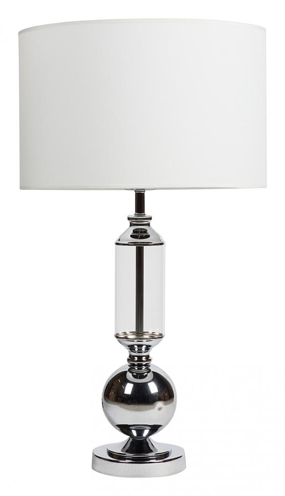 Настольная лампа Rosaleen Table LampНастольные лампы<br>Настольная лампа Rosaleen Table Lamp стиле модерн <br>идеально впишется и в современный, и в классический <br>интерьер. Основание лампы изготовлено из <br>металла серебристого цвета, её абажур — <br>из прочной белоснежной ткани, которая практически <br>не впитывает в себя пыль. Основа настольной <br>лампы Rosaleen Table Lamp дополнена декоративным <br>элементом из прозрачного стекла. Предназначена <br>для использования со светодиодными лампами, <br>лампы не включены в комплект.<br><br>Цвет: Хром, Прозрачный, Белый<br>Материал: Металл, Стекло, Ткань<br>Вес кг: 2,8<br>Длина см: 38<br>Ширина см: 38<br>Высота см: 68