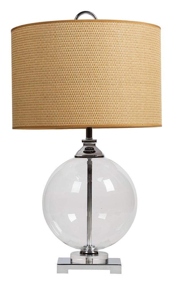 Настольная лампа Catalan Uttermost, DG-TL114  Элегантная настольная лампа Catalan Uttermost  в стиле модерн создаст дополнительный источник  света и украсит собой любой интерьер. Основание  лампы изготовлено из нержавеющей стали  серебристого цвета, её абажур — из прочной  ткани бежевого цвета, которая практически  не впитывает в себя пыль. Основание оригинально  дополнено шаром из прозрачного стекла.  Предназначена для использования со светодиодными  лампами, лампы не включены в комплект.