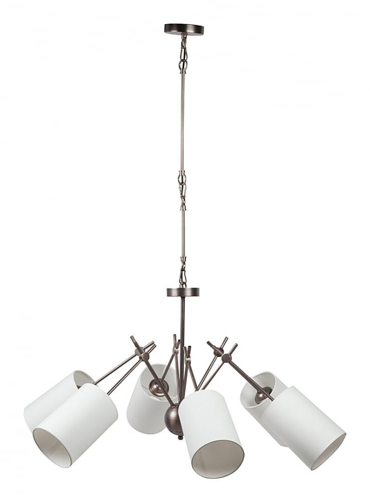 Подвесной светильник Sandee ChandelierПодвесные светильники<br>Необыкновенно интересный подвесной светильник <br>Sandee примечателен тем, что в нем необычно <br>и весьма гармонично совмещаются два казалось <br>бы несовместимых стиля — индустриальный <br>и классический. Шесть белых тканевых абажуров, <br>закрепленных на металлических прямых прутьях, <br>направлены в разные стороны, что позволяет <br>осветить максимально большую площадь помещения, <br>в котором расположен светильник. Предназначен <br>для использования со светодиодными лампами, <br>лампы не включены в комплект.<br><br>Цвет: Белый<br>Материал: Металл, Ткань<br>Вес кг: 4<br>Длина см: 80<br>Ширина см: 80<br>Высота см: 68