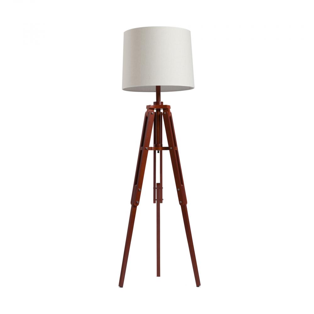 Напольный светильник Vintage Tripod Floor LampТоршеры и напольные светильники<br>Предназначена для использования со светодиодными <br>лампами, лампы не включены в комплект<br><br>Цвет: Белый, коричневый<br>Материал: Дерево, Ткань<br>Вес кг: 4,5<br>Длина см: 53<br>Ширина см: 53<br>Высота см: 183