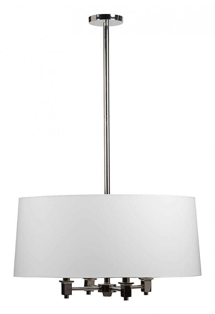 Подвесной светильник Jorgensen Chandelier DG-HOME Подвесной светильник Jorgensen — это классический  дизайн в ярком современном исполнении.  Такой светильник может кардинально преобразить  даже самую простую обстановку, создав атмосферу  роскоши и шика. Текстильный абажур белого  цвета сделает освещение теплым и мягким,  а основание из хромированного металла дополнит  комнату бликами света. Лучше всего установить  столь эффектный светильник в комнате для  приема гостей, оформленной в духе классики  или модерна. Он непременно станет центральным  акцентом интерьера. Предназначен для использования  со светодиодными лампами, лампы не включены  в комплект.