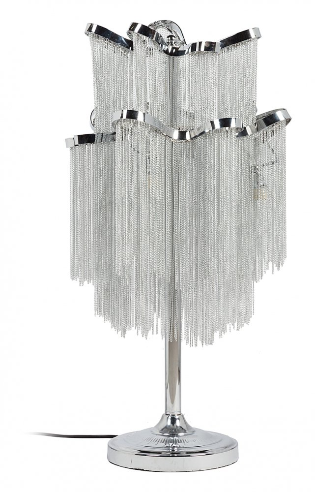 Настольная лампа Terzani StreamНастольные лампы<br>Роскошная и неповторимая настольная лампа <br>Terzani Stream в стиле модерн — это королевское <br>украшение каждого дома. Основание лампы <br>изготовлено из нержавеющей стали, а абажур <br>представлен в виде многочисленных свисающих <br>цепочек из серебристого алюминия. Настольная <br>лампа Terzani Stream имеет пять ламп, поэтому сможет <br>осветить помещение до 8 кв. метров. Предназначена <br>для использования со светодиодными лампами, <br>лампы не включены в комплект.<br><br>Цвет: Серебро, Хром<br>Материал: Металл<br>Вес кг: 4<br>Длина см: 36<br>Ширина см: 36<br>Высота см: 65