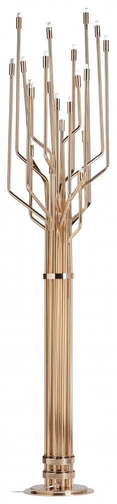 Напольный светильник MaestroТоршеры и напольные светильники<br>Роскошный и изысканный напольный светильник <br>Maestro в стиле модерн — это весьма оригинальный <br>источник дополнительного освещения. Светильник <br>изготовлен из металла благородного золотого <br>цвета. По форме он напоминает дерево, которое <br>тянет свои ветви к солнцу. Напольный светильник <br>Maestro имеет 20 цоколей для ламп, поэтому он <br>может осветить комнату с площадью до 33 кв. <br>метров. Предназначен для использования <br>со светодиодными лампами, лампы не включены <br>в комплект.<br><br>Цвет: Золото<br>Материал: Металл<br>Вес кг: 4<br>Длина см: 38<br>Ширина см: 38<br>Высота см: 170