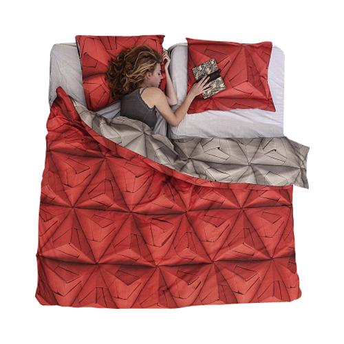 Купить Постельное белье Оригами красный (200*220) в интернет магазине дизайнерской мебели и аксессуаров для дома и дачи