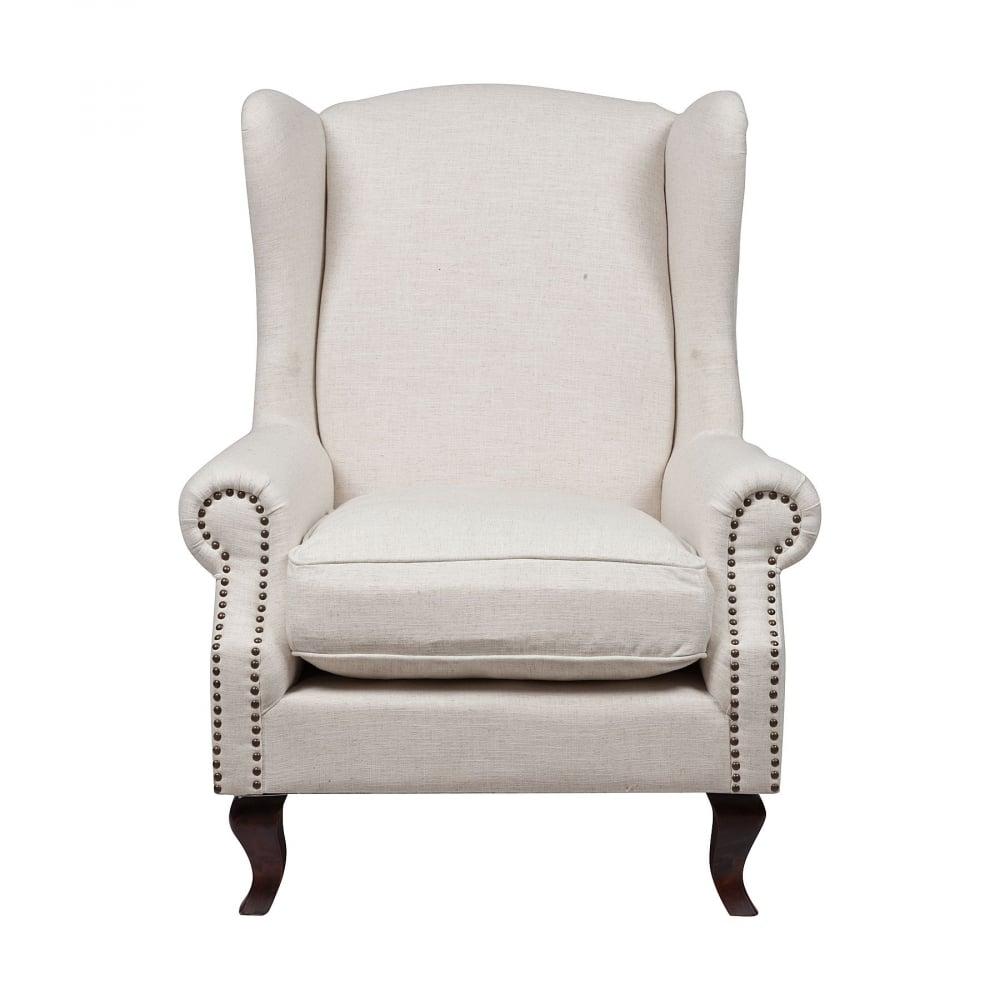 Кресло Collins Wingback Chair Белый Лён DG-HOME Элегантное и шикарное кресло Collins Wingback  Chair в стиле модерн — это воплощение королевской  роскоши и шарма. Оно подойдет и для современного,  и для классического интерьера. Каркас и  ножки изготовлены из натуральной берёзы  коричневого цвета, а обивка — из прочной  ткани кремового оттенка, состоящей на 20%  из льна и 80% полиэстера. Обивка декорирована  мебельными кнопками, которые расположены  по всей поверхности подлокотников.