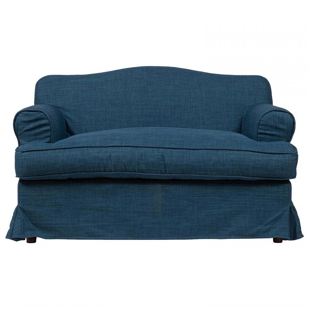 Диван Fernando Маленький СинийДиваны<br>Маленький диван Fernando сделан на основе берёзового <br>каркаса, обивка выполнена из прочной ткани, <br>в состав которой входят натуральный лен <br>(20%) и полиэстер (80%), В качестве наполнителя <br>используется поролон разной степени мягкости <br>для большего комфорта. Подойдет для современного <br>стиля интерьера.<br><br>Цвет: Синий<br>Материал: Ткань, Поролон, Дерево<br>Вес кг: 57<br>Длина см: 140<br>Ширина см: 84<br>Высота см: 84