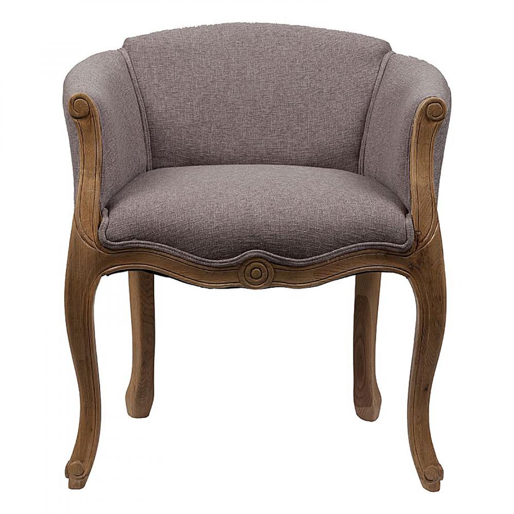 Кресло Cabriole Elizabeth СероеКресла<br>Созданное в модном старинном дизайне кресло <br>Cabriole Elizabeth будет смотреться в вашем доме <br>просто роскошно. Конструкция кресла создана <br>из добротного дерева (дуб), что гарантирует <br>его долгую эксплуатацию. Гнутые фигурные <br>ножки и резьба по всему каркасу подчеркивают <br>утонченность продукта. Для обивки использована <br>особая синтетическая ткань, состоящая из <br>80% полиэстера и 20% натурального льна, которая <br>отличается прочностью и долговечностью, <br>и своей спокойной серой расцветкой располагает <br>к отдыху. В качестве наполнителя использован <br>мягкий упругий поролон, который не проваливается <br>при длительном сидении.<br><br>Цвет: Серый<br>Материал: Ткань, Поролон, Дерево<br>Вес кг: 17,5<br>Длина см: 54<br>Ширина см: 58<br>Высота см: 66