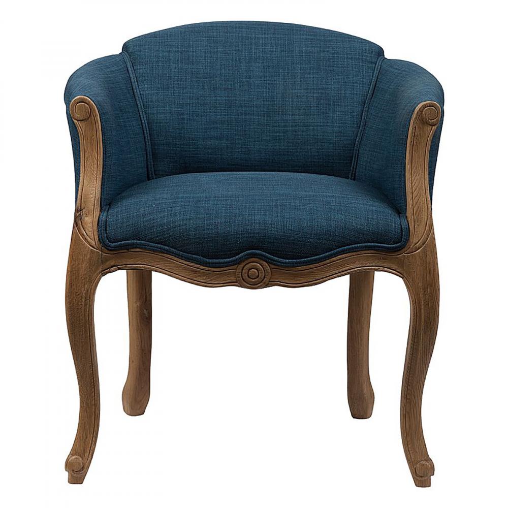 Кресло Cabriole Elizabeth СинееКресла<br>Созданное в модном старинном дизайне кресло <br>Cabriole Elizabeth будет смотреться в вашем доме <br>просто роскошно. Конструкция кресла создана <br>из добротного дерева (дуб), что гарантирует <br>его долгую эксплуатацию. Гнутые фигурные <br>ножки и резьба по всему каркасу подчеркивают <br>утонченность продукта. Для обивки использована <br>особая синтетическая ткань, состоящая из <br>80% полиэстера и 20% натурального льна, которая <br>отличается прочностью и долговечностью, <br>и своей спокойной синей расцветкой располагает <br>к отдыху. В качестве наполнителя использован <br>мягкий упругий поролон, который не проваливается <br>при длительном сидении.<br><br>Цвет: Синий<br>Материал: Ткань, Поролон, Дерево<br>Вес кг: 17,5<br>Длина см: 54<br>Ширина см: 58<br>Высота см: 66
