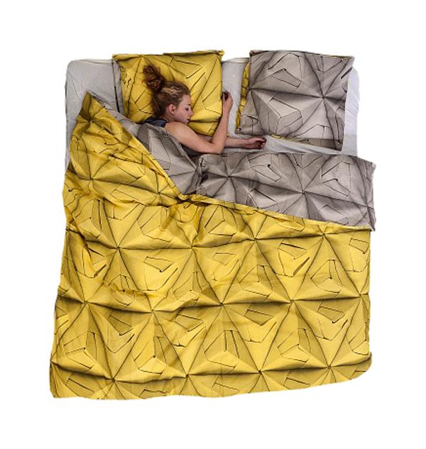 Купить Постельное белье Оригами желтый (200*220) в интернет магазине дизайнерской мебели и аксессуаров для дома и дачи