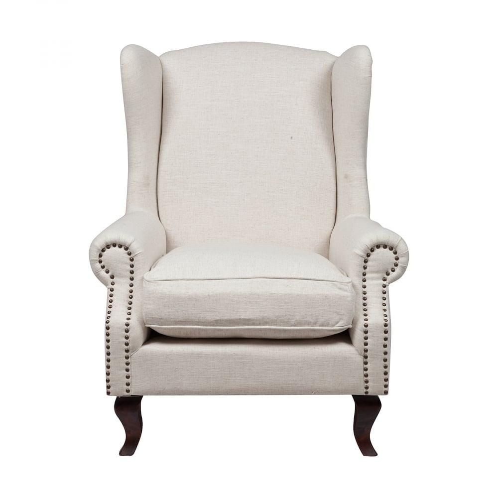 Кресло Collins Wingback Chair Белый ЛенКресла<br>Элегантное и шикарное кресло Collins Wingback <br>Chair в стиле модерн — это воплощение королевской <br>роскоши и шарма. Оно подойдет и для современного, <br>и для классического интерьера. Каркас и <br>ножки изготовлены из натуральной берёзы <br>коричневого цвета, а обивка — из прочной <br>ткани кремового оттенка, состоящей на 20% <br>из льна и 80% полиэстера. Обивка декорирована <br>мебельными кнопками, которые расположены <br>по всей поверхности подлокотников.<br><br>Цвет: Белый<br>Материал: Ткань, Дерево<br>Вес кг: 21<br>Длина см: 97<br>Ширина см: 94<br>Высота см: 114