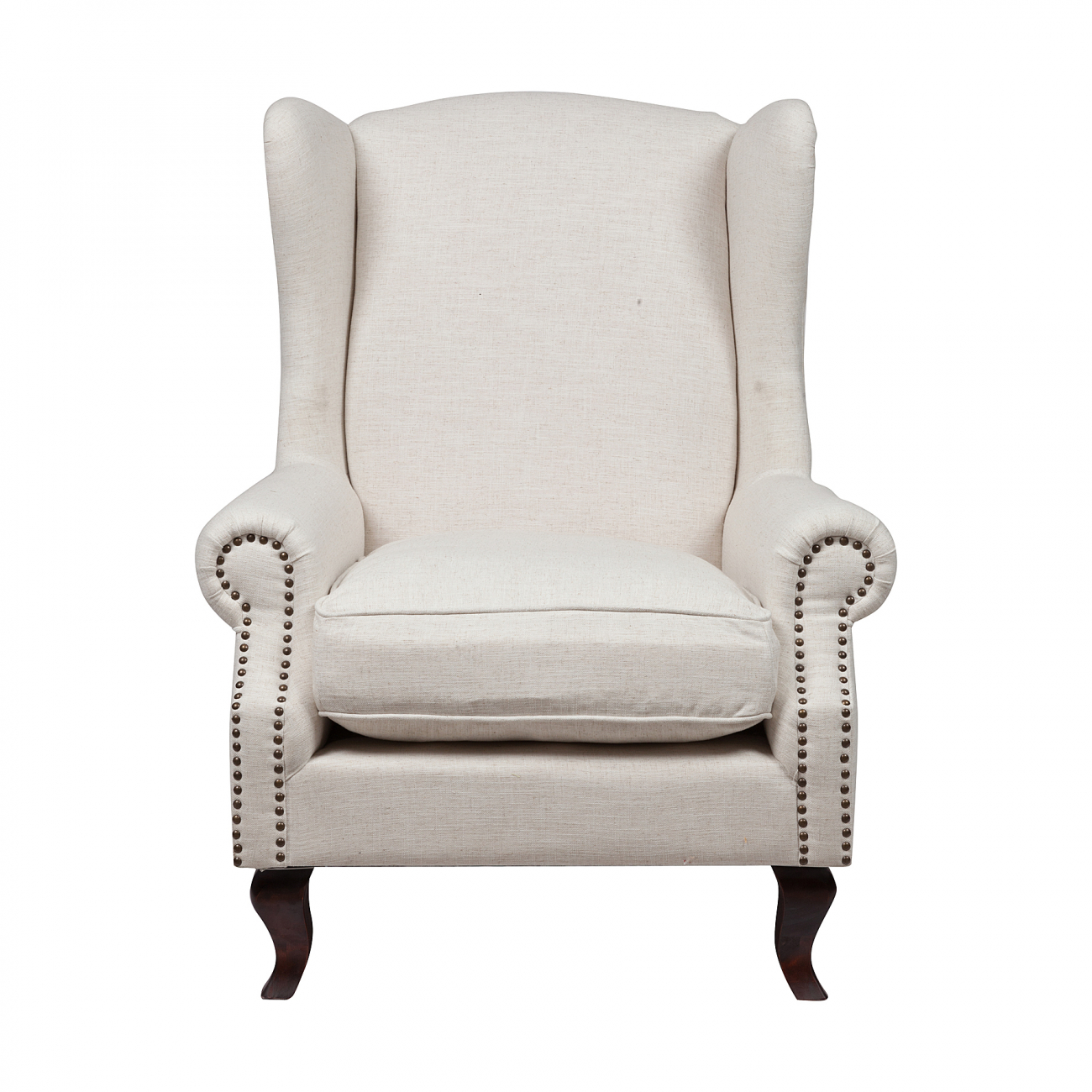 Кресло Collins Wingback Chair Белый Лен