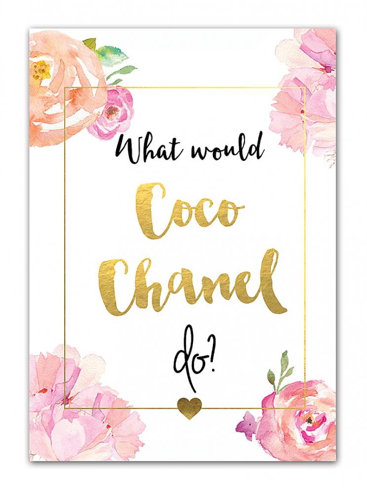 Постер Coco Chanel А4Постеры<br>Красочный декоративный постер Coco Chanel станет <br>ярким акцентом в любом интерьере. Надпись <br>на постере What would Coco Chanel do? (Что бы сделала <br>Коко Шанель?) — призывает вспомнить бесценные <br>советы Коко, которые уже стали афоризмами. <br>Например — «Все в наших руках, поэтому их <br>нельзя опускать». Купите уникальный аксессуар, <br>который украсит и подарит уникальную атмосферу <br>вашему дому. Вы можете быть уверены, что <br>такой декор не увидите больше нигде. А ваши <br>гости долго будут восхищаться вашим тонким <br>умением создать неповторимый интерьер. <br>Постер выполнен типографским способом <br>на плотной бумаге и вставлен в рамку, позволяющую <br>удобно закрепить его на стене в любом положении. <br>Размер А3 (297x420 мм), А4 (210x297 мм). Другие размеры <br>— под заказ. Рамки белого, чёрного, серебряного, <br>золотого цветов. Выбирайте!<br><br>Цвет: Розовый<br>Материал: Бумага<br>Вес кг: 0,3<br>Длина см: 30<br>Ширина см: 21