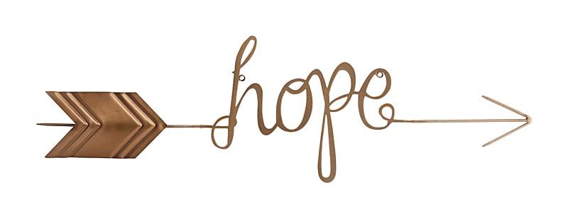 Настенный декор Hope , DG-D-1138-1  Пустые стены — это скучно. Кто-то вешает  картины, кто-то клеит постеры. Но одно из  свежих веяний — декор, состоящий из букв,  слов и словосочетаний. Самые распространенные  — успех, любовь, надежда. Именно эти слова  становятся негласными девизами в жизни  каждого человека. Надежда не даст рукам  опуститься и поведет сквозь сотни преград  в завтрашний день. Настенный декор с надписью  Hope (надежда) выполнен из металла и окрашен  золотой краской. Стрела укажет направление  жизни и дальнейших побед. Пускай ваши гости  знают, что здесь — пристанище и оплот надежды.  А вы об этом никогда не забудете, потому  что надежда внутри, а так ещё и снаружи на  вашей стене. Благодаря двум креплениям  около букв, вы сможете повесить эту табличку  над входной дверью, в гостиной или в спальне.  Даже в офисе — простой, но в то же время  лаконичный, декор придаст любому интерьеру  изюминки.