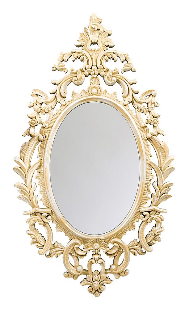 Настенное зеркало Вивьен, OM-MR04  Помните сказку? «Свет мой, зеркальце, скажи…»  При желании всегда выглядеть красиво начать  стоит с красивого зеркала. Имидж женственности  зеркала «Вивьен» подчеркивает светлый  и воздушный растительный узор рамы из полиуретана.  Контурный овальный фацет преломляет лучи  света, мерцая уютными радужными отсветами:  зеркало преображает отраженные предметы,  придавая пространству простор и объемность.  Толщина зеркального стекла 5 мм, серебряная  амальгама.