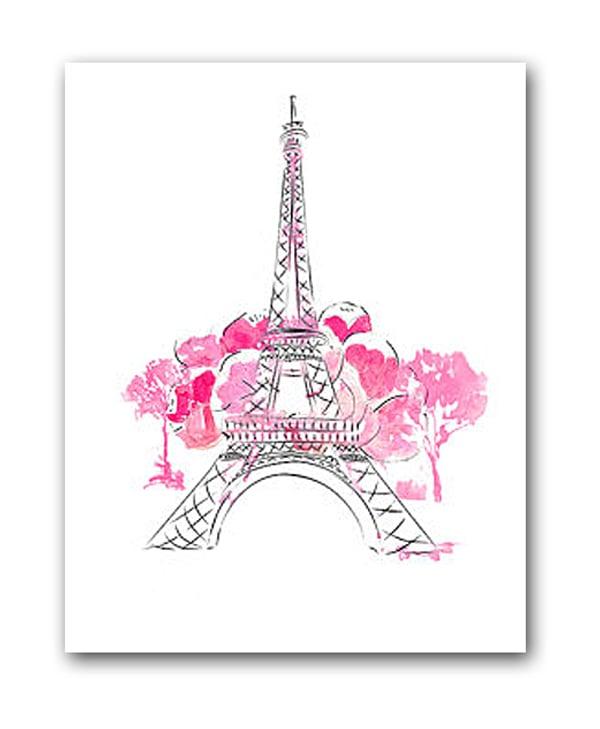 Постер Paris А4 (розовый)