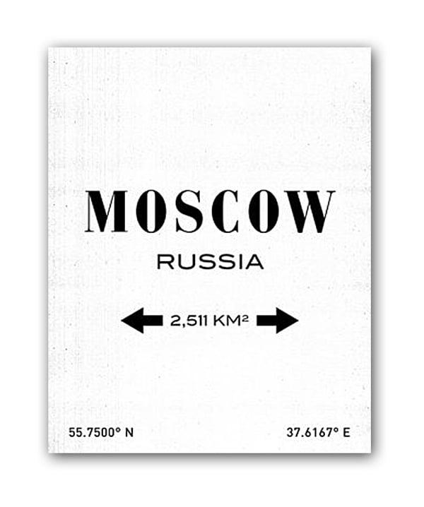 Фото Постер Moscow А3 (белый). Купить с доставкой