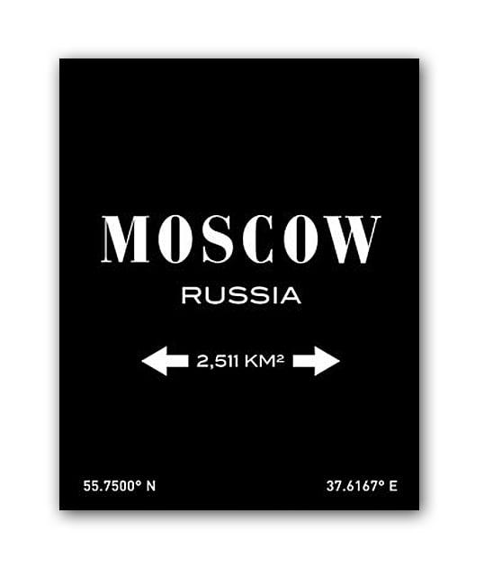 Фото Постер Moscow А3 (черный). Купить с доставкой