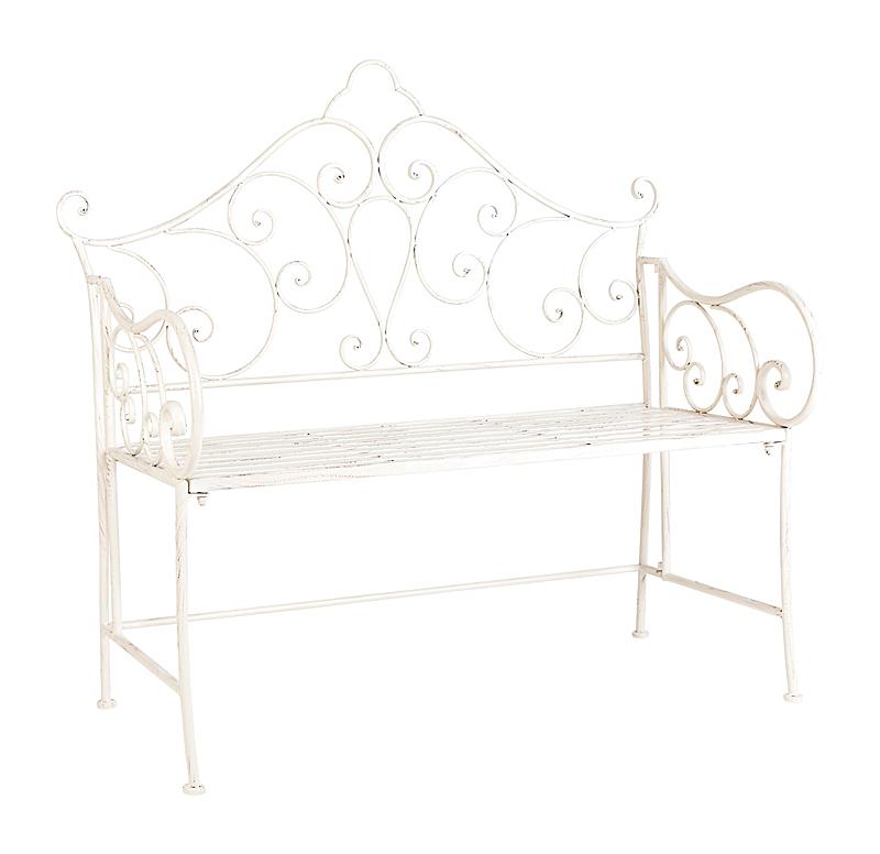Купить Металлическая скамья Венсен (белый антик) в интернет магазине дизайнерской мебели и аксессуаров для дома и дачи