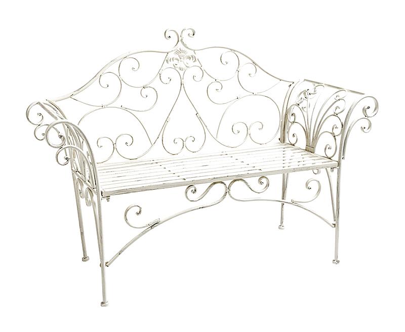 Купить Металлическая скамья Тюильри (белый антик) в интернет магазине дизайнерской мебели и аксессуаров для дома и дачи