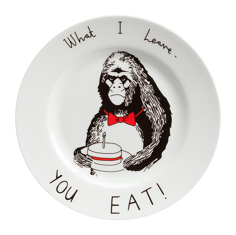 Тарелка What I Leave - You EatТарелки<br>Смешная тарелка с рисунком гориллы и надписью <br>What I Leave - You Eat — отменное пополнение вашей <br>коллекции интересной кухонной утвари. Она <br>пригодна для повседневного использования <br>и абсолютна незаменима для поднятия своего <br>настроения и впечатления гостей. Эта тарелка <br>станет забавным и необычным подарком на <br>день рождения или любой другой случай, замечательным <br>способом поднять настроение хмурым утром! <br>Вы можете купить тарелку в подарок своим <br>друзьям и коллегам, а можете — их детям. <br>И те и другие будут довольны, ведь их завтраки <br>и ужины навсегда перестанут быть скучными! <br>Спешите купить яркую, позитивную тарелку <br>What I Leave - You Eat и другие смешные тарелки из <br>этой коллекции!<br><br>Цвет: Белый<br>Материал: Фарфор<br>Вес кг: 0,4<br>Длина см: 21<br>Ширина см: 21<br>Высота см: 1,7