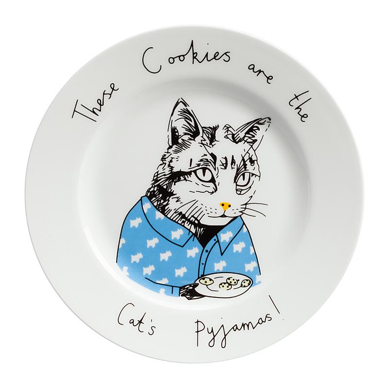 Тарелка These Cookies are the Cats PyjamasТарелки<br>Смешная тарелка с рисунком очаровательной <br>кошки и надписью These Cookies are the Cats Pyjamas («это <br>печенье кошки в пижаме») — отменное пополнение <br>вашей коллекции интересной кухонной утвари. <br>Она пригодна для повседневного использования <br>и абсолютна незаменима для поднятия своего <br>настроения и впечатления гостей. Эта тарелка <br>станет забавным и необычным подарком на <br>день рождения или любой другой случай, замечательным <br>способом поднять настроение хмурым утром! <br>Вы можете купить тарелку в подарок своим <br>друзьям и коллегам, а можете — их детям. <br>И те и другие будут довольны, ведь их завтраки <br>и ужины навсегда перестанут быть скучными! <br>Спешите купить яркую, позитивную тарелку <br>These Cookies are the Cats Pyjamas и другие смешные тарелки <br>из этой коллекции!<br><br>Цвет: Белый<br>Материал: Фарфор<br>Вес кг: 0,4<br>Длина см: 21<br>Ширина см: 21<br>Высота см: 1,7