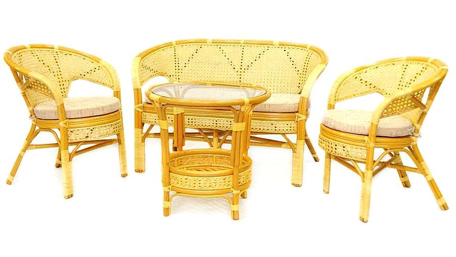 Купить Комплект плетёной мебели из ротанга Together (бежево-золотой) в интернет магазине дизайнерской мебели и аксессуаров для дома и дачи