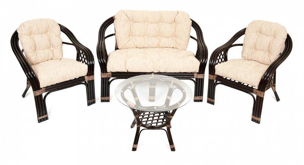 Комплект для отдыха Relax, ED-F-R47Уличная и садовая мебель<br>Этот функциональный и долговечный комплект для отдыха может стать ярким украшением Вашего интерьера.<br>Тройной ротанг который используется в каркасе, придает комплекту дополнительную прочность и солидность. <br>Мягкие подушки на сиденье и спинке выполнены из качественной ткани Рогожка.<br>Столик в комплекте простой ,легкий и визуально не загружает пространство.<br>Стекло на столике укладывается на прозрачные силиконовые присоски.<br>Размеры: диван - 124*84*77 см, стол - диаметр 64 см, высота 51 см; кресла - 73*77*84 см.<br><br>Цвет: Темно-коричневый<br>Материал: Натуральный ротанг<br>Вес кг: None<br>Ширина см: 185<br>Высота см: 178