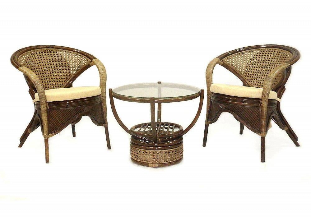 Кофейный комплект Good Morning I, ED-F-R51Уличная и садовая мебель<br>Очень удобный и компактный комплект, отлично впишется даже в небольшое помещение.<br><br>Такой ротанговый комплект мебели Вы можете использовать и на свежем воздухе, ротанг устойчив к изменению температуры, не выцветает на солнце.<br>Важным достоинством кофейного комлекта является его легкость, что позволяет его свободно перемещать.<br>Размеры: стол - диаметр 59 см, высота 50 см; кресла - 78*60*66 см.<br><br>Цвет: Коричневый<br>Материал: Натуральный ротанг<br>Вес кг: None<br>Ширина см: 185<br>Высота см: 71