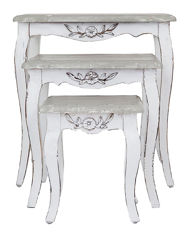 Трио столиков Живерни, OM-CFT13Кофейные и журнальные столы<br>Элегантным дополнением к обстановке вашего интерьера может стать трио консольных столиков Живерни из одноименной коллекции. Сквозь бело-серую отделку с эффектом патины, которая используется для мебели всей коллекции, просматривается изящная неровность деревянной (вяз) поверхности.  Поверхность столиков специально браширована для того, чтобы подчеркнуть природную красоту древесной текстуры. Обратите внимание на чуть изогнутые ножки столиков, на изящную резьбу, украшающую изделия. Сочетайте с обеденным столом и стульями Живерни.<br><br>Цвет: Серый<br>Материал: Дерево<br>Вес кг: 13