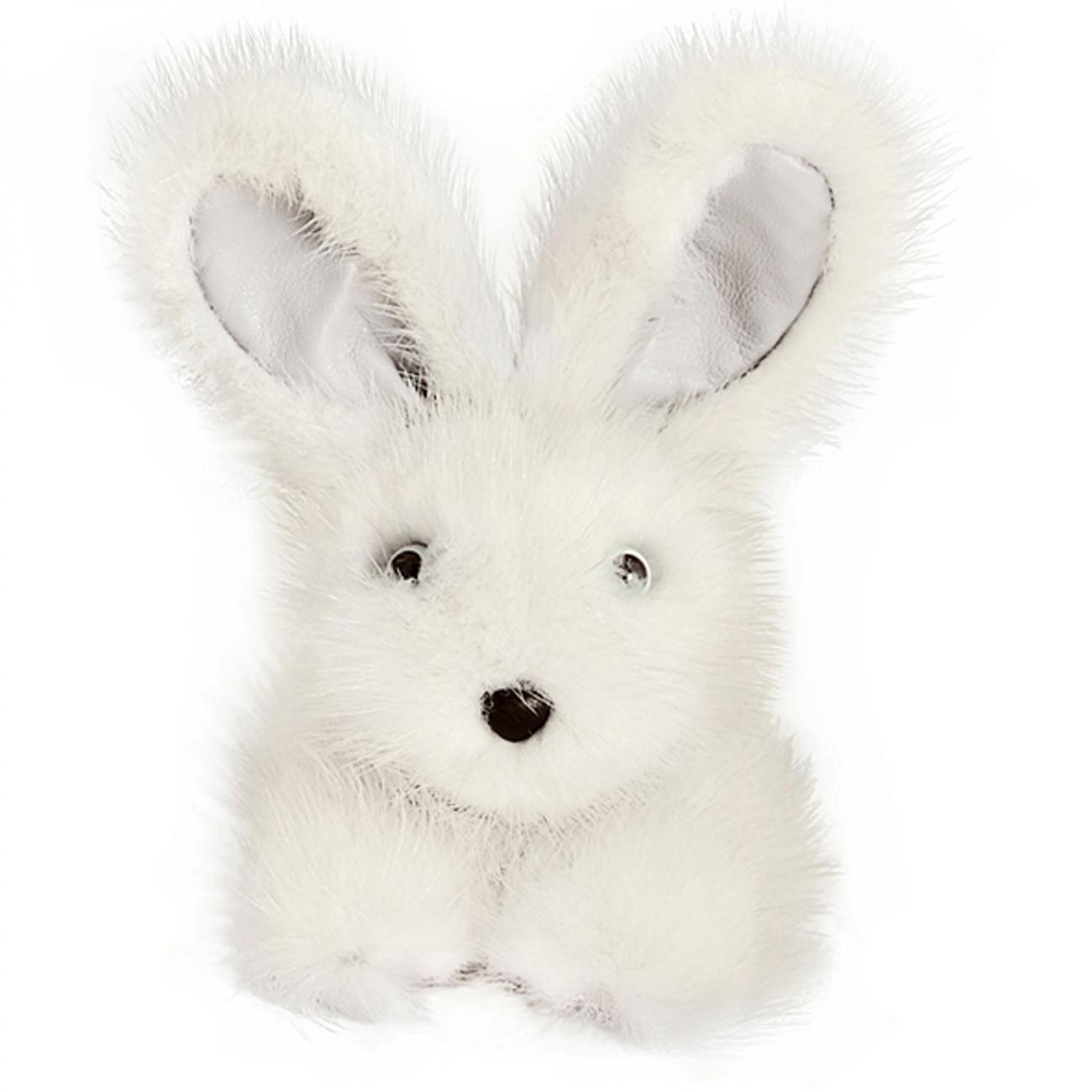 Купить Игрушка Зайчик (белый) натуральный мех норки в интернет магазине дизайнерской мебели и аксессуаров для дома и дачи
