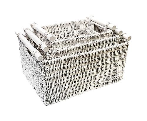Трио корзин Садовод в белом, OM-PL112  Плетеные корзины - традиционная хозяйственная  и интерьерная принадлежность городских  квартир и, тем более, загородных домов. Корзины