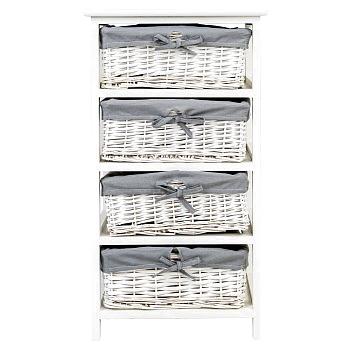 Купить Стеллаж с корзинами Дижон белый в интернет магазине дизайнерской мебели и аксессуаров для дома и дачи