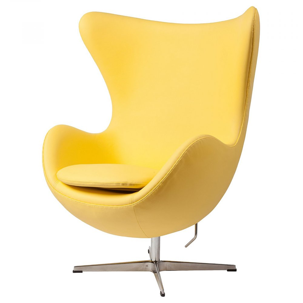 Кресло Egg Chair Желтая Кожа Класса Премиум DG-HOME Кресло Egg Chair (Яйцо), созданное в 1958 году  датским дизайнером Арне Якобсеном, обладает  исключительной привлекательностью и узнаваемостью  во всем мире, занимает особое место в ряду  культовой дизайнерской мебели XX века. Оно  имеет экстравагантную форму, что позволило  ему стать совершенным воплощением классики  нового времени. Кресло Egg Chair, выполненное  в форме яйца, обтянутого натуральной кожей  класса Премиум жёлтого цвета, подарит огромное  множество положительных эмоций и заставляет  обращать на него внимание. Оно непременно  задаёт основу для дизайна того или иного  помещения. Прочный и массивный каркас из  стекловолокна и ножка из нержавеющей стали  гарантируют долгий срок службы и устойчивость.  Данное кресло — это поистине не стареющая  классика в футуристическом исполнении!  Купите великолепную реплику кресла Egg Chair  — изготовленное из высококачественных  материалов, оно понравится многим любителям  нестандартного видения обыденных и, притом,  качественных вещей.