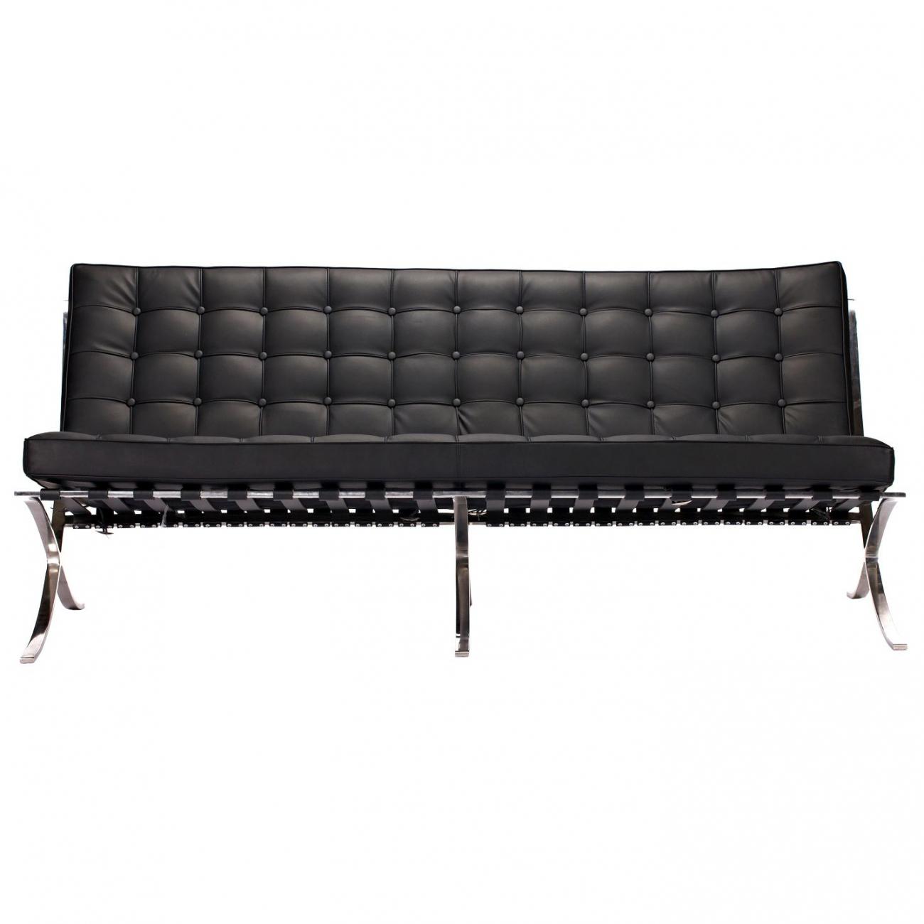 Купить Диван Barcelona Трехместный Чёрная Экокожа в интернет магазине дизайнерской мебели и аксессуаров для дома и дачи