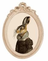 Репродукция гравюры Мисс Зайка в раме Бернадетт, OM-D-P01