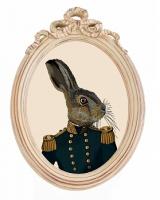 Репродукция гравюры Мистер Заяц в раме Бернадетт, OM-D-P02