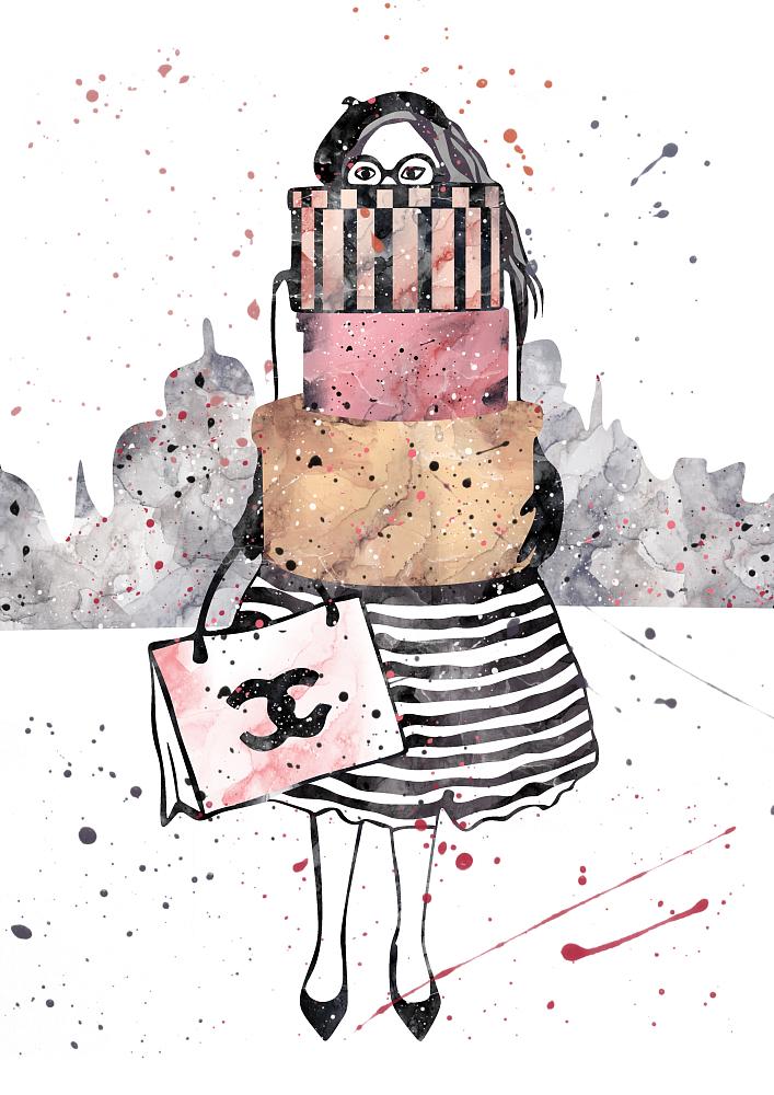 Постер Девушка с подарками А4