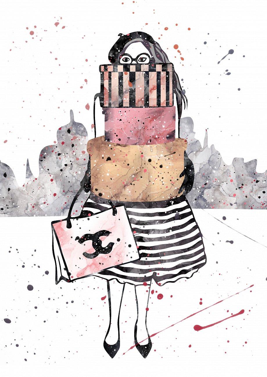 Купить Постер Девушка с подарками А3 в интернет магазине дизайнерской мебели и аксессуаров для дома и дачи